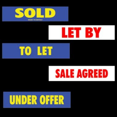 Printed Estate Agent Boards, Correx Sold Slips
