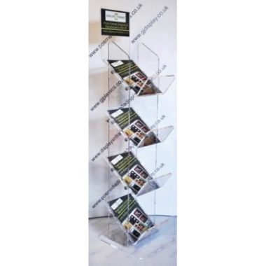 4 Tier Acrylic Newspaper Stand