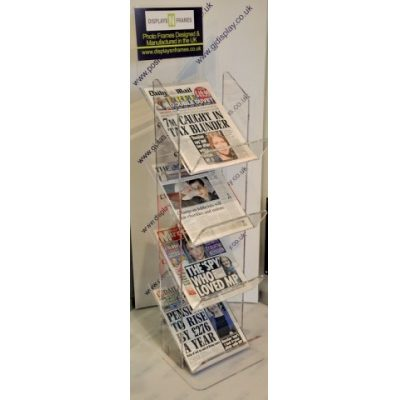 4 Tier Perspex News Stand