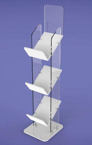 Super Tough Magazine Stands three Shelf GJ Plastics