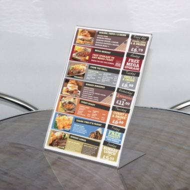A4 Acrylic Menu Holder, Perspex Poster Holders
