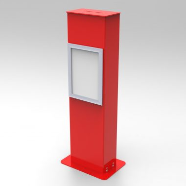Red floorstanding suggestion box with A4 poster frame
