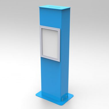 Blue A4 freestanding suggestion box.