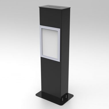 Black Floorstanding Suggestion box with A4 poster frame.