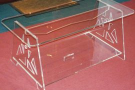 Acrylic tables, Perspex magazine racks