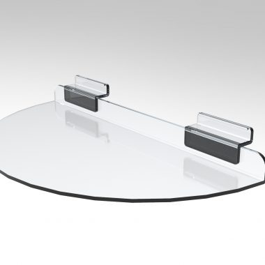 Acrylic Slatwall Shelf Semi Circle 300 x 150