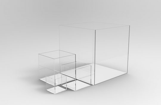 four sizes three mm thick acrylic display cube