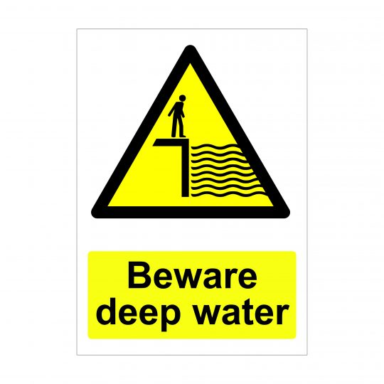 Beware Deep Water Sign, Health and Safety Signage