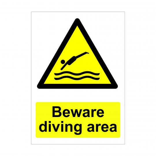 Beware Diving Area Sign, Warning Signs, Correx Boards