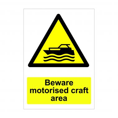Beware Motorised Craft Area, Warning Signs