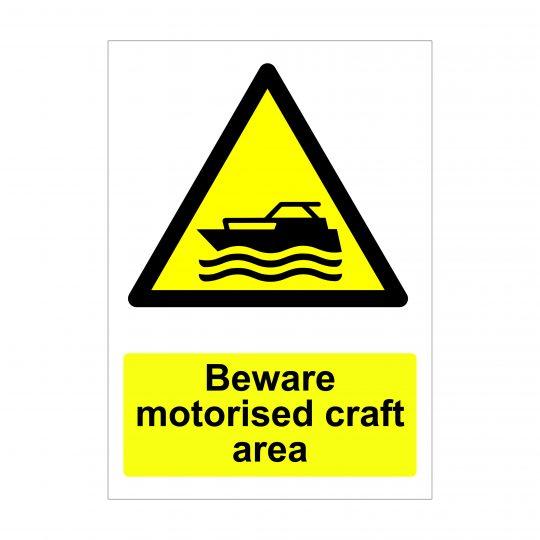 Beware Motorised Craft Area, Warning Signs