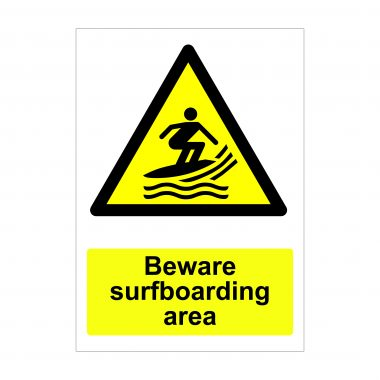 Beware Surfboarding Area Sign, Vinyl Stickers