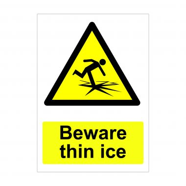 Beware Thin Ice Sign, Printed Vinyl Stickers