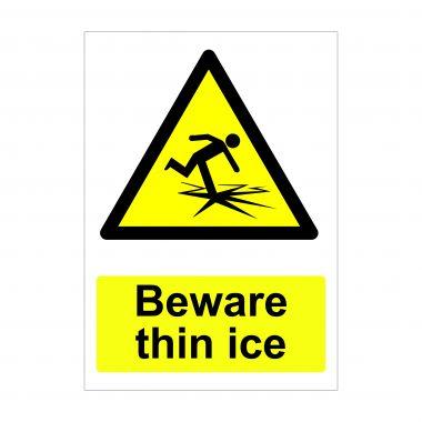Beware Thin Ice Sign, Printed Vinyl Stickers