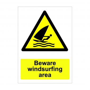 Beware Windsurfing Area Sign, Vinyl Stickers