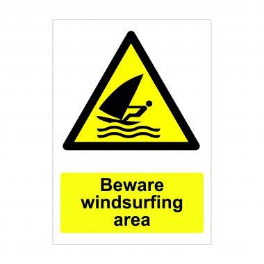 Beware Windsurfing Area Sign, Vinyl Stickers