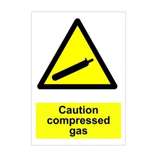 Caution Compressed Gas Sign, Foamex Signage