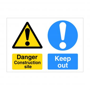 Danger Construction Site Board, Printed Dibond Signs