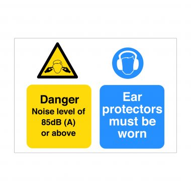 Danger Noise Level of 85dB Sign, Printed Dibond Signs, Construction Signage