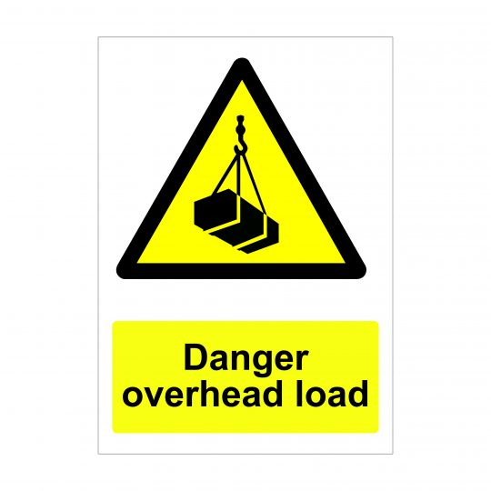 Danger Overhead Load Sign, Health and Safety Signage