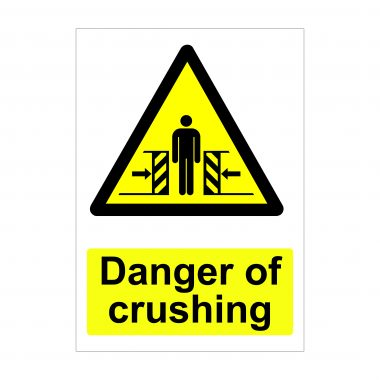 Danger of Crushing Sign, Printed Foamex Boards