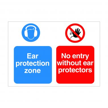 Ear Protection Zone Sign, Printed Construction Signs