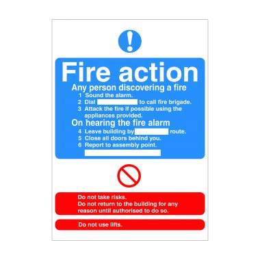 Fire Action 2 Sign, Fire Safety Signs, Correx Printing