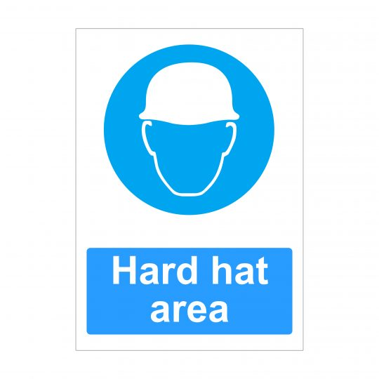 Hard Hat Area Sign, Printed Correx, Foamex Signs