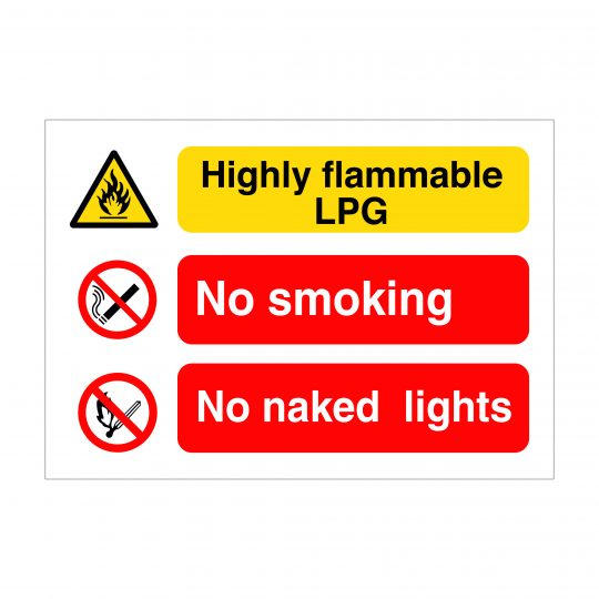 Highly Flammable LPG Sign, Construction Site Signage