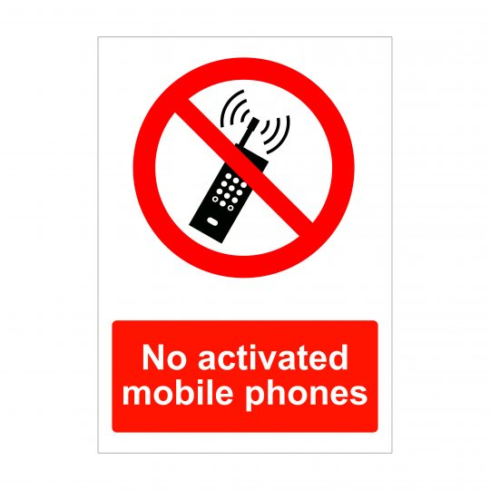 No Activated Mobile Phones, A4 Foamex Signs