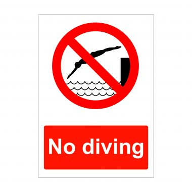 No Diving Sign, Health and Safety Stickers
