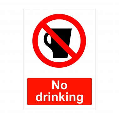 No drinking sign, health and safety stickers