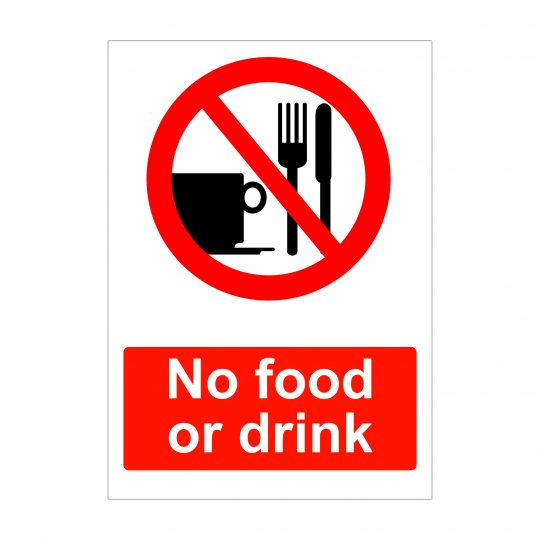 No food or drink sign, health and safety signs