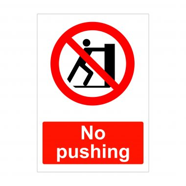 No Pushing Sign, Vinyl Stickers, Printed Correx
