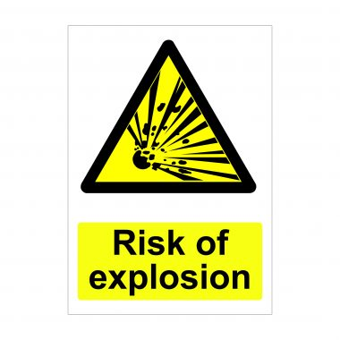 Risk of Explosion Sign, Health and Safety Boards, Printed Correx Signage
