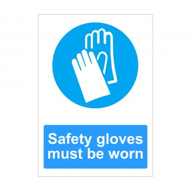 Safety Gloves Must Be Worn Sign, Printed Dibond Signs