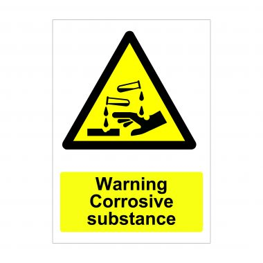 Warning Corrosive Substance Sign, Printed Stickers
