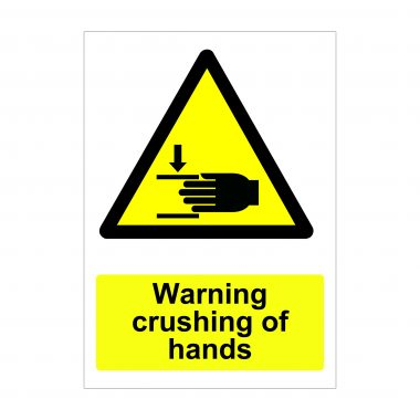Warning Crushing of Hands Sign, Printed Correx Boards