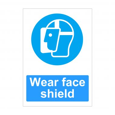 Wear Face Shield Sign, Printed Vinyl Stickers, Health and Safety Signs