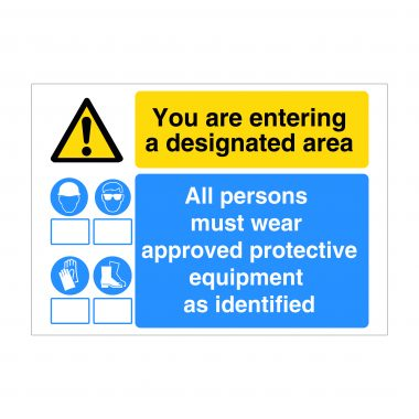 You are entering a designated area sign, Construction Site Signage