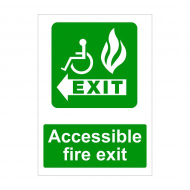 Accessible Fire Exit Left Arrow Sign