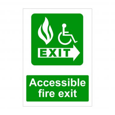 Accessible Fire Exit Right Arrow, Fire Signage