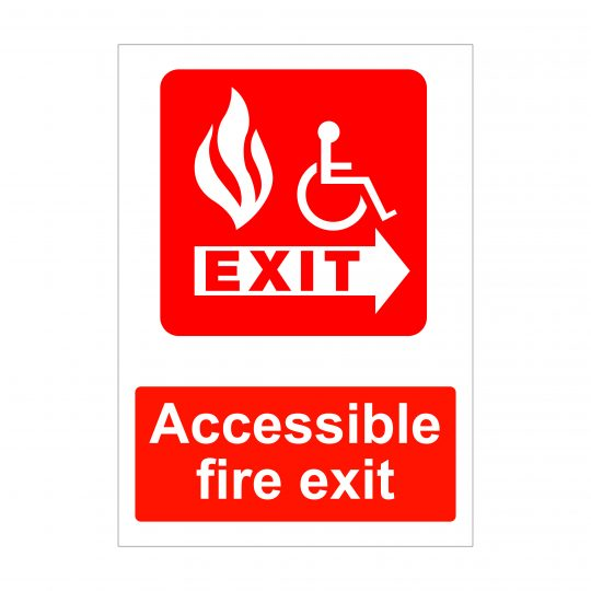Accessible Fire Exit Sign, Fire Safety Signs