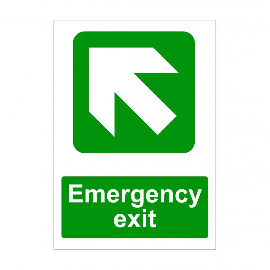Emergency Exit Large Arrow Up Left Sign