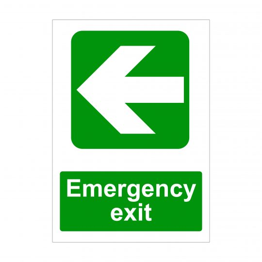 Emergency Exit Large Arrow to Left Sign, Correx Signs
