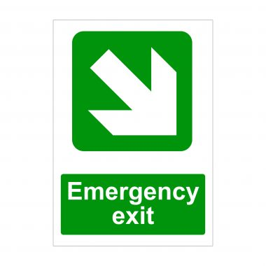 Emergency Exit Large Diagonal Down Arrow to Right Sign