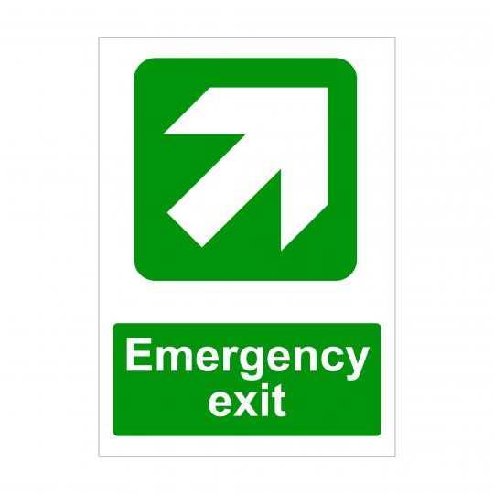 Emergency Exit Large Diagonal Up Arrow to Right Sign