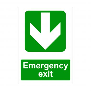 Emergency Exit Large Down Arrow Sign