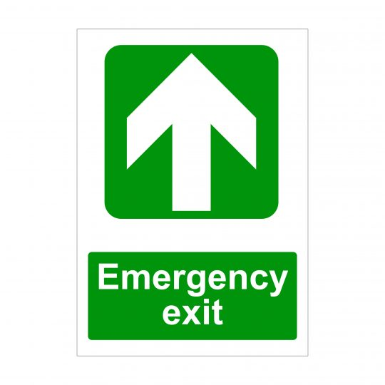 Emergency Exit Large Up Arrow Sign, Printed Correx Boards