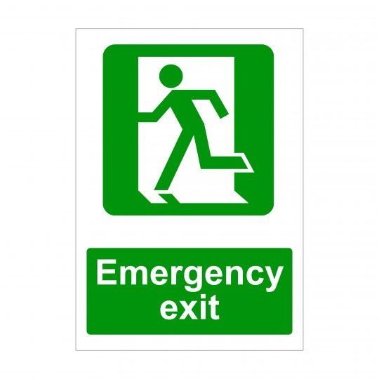 Emergency Exit Left Running Man Sign, Printed Correx Boards